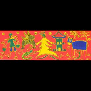 Moderne Acrylmalerei, Tradition in Guanzhou 120x40 cm 2007
